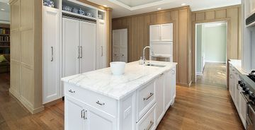 Kitchen island with Calacatta marble