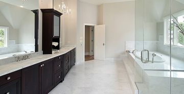 Bianco Carrara marble vanity top and bath facade