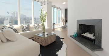 A fireplace with Steel Grey honed granite