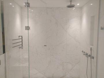 Namibian White bathroom walls and floors