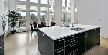 Bianco Carrara marble kitchen island